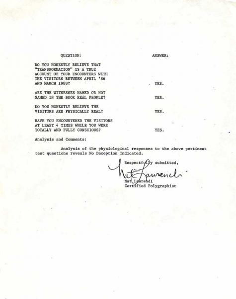 Strieber's Polygraph Test results – WHITLEY STRIEBER'S